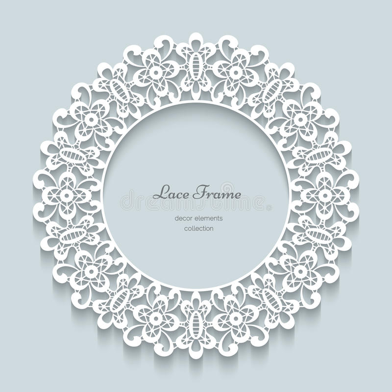 Round paper lace frame stock illustration