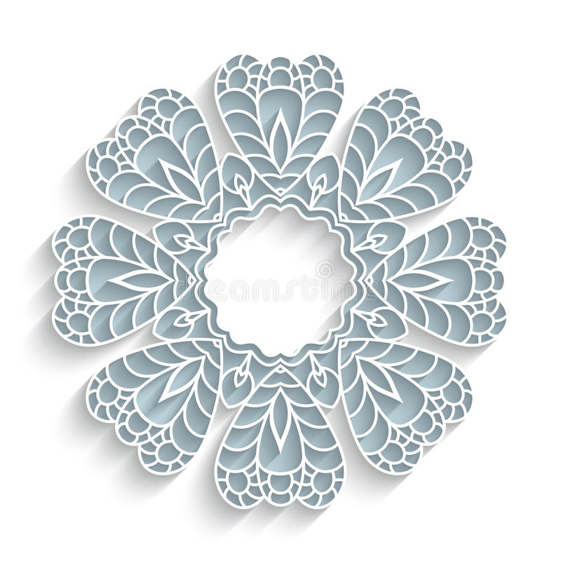 Round paper lace frame vector illustration