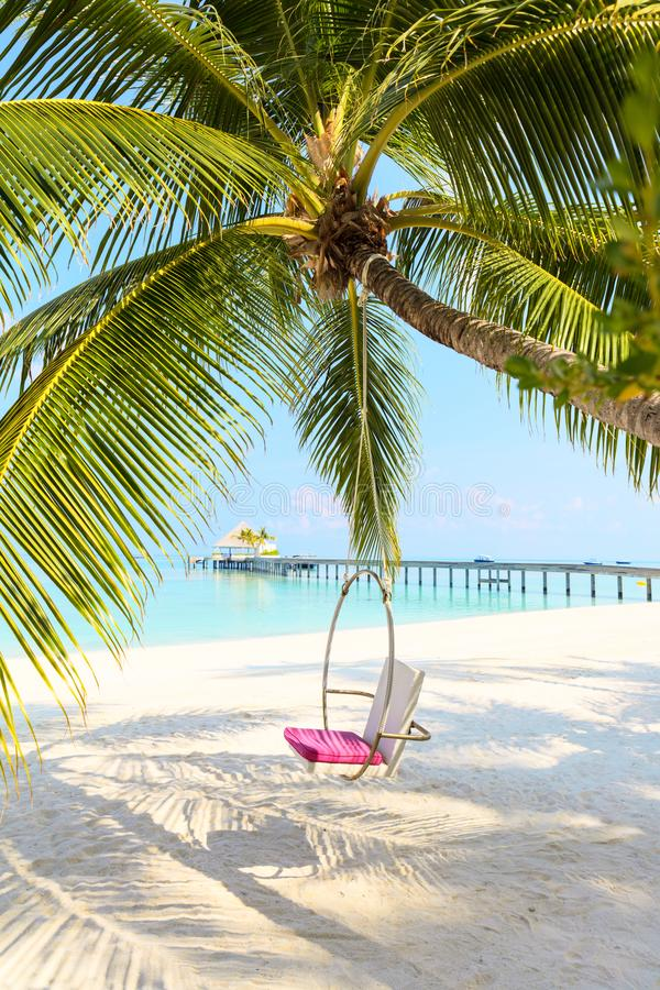 Round Paradise Swing over dreamy sandy beach with Ocean Water ba royalty free stock photo