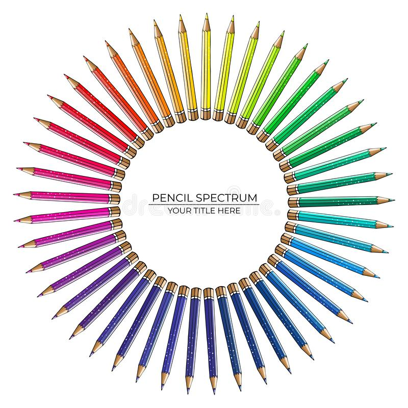 Round pattern of bright color spectrum pencils on white background stock illustration
