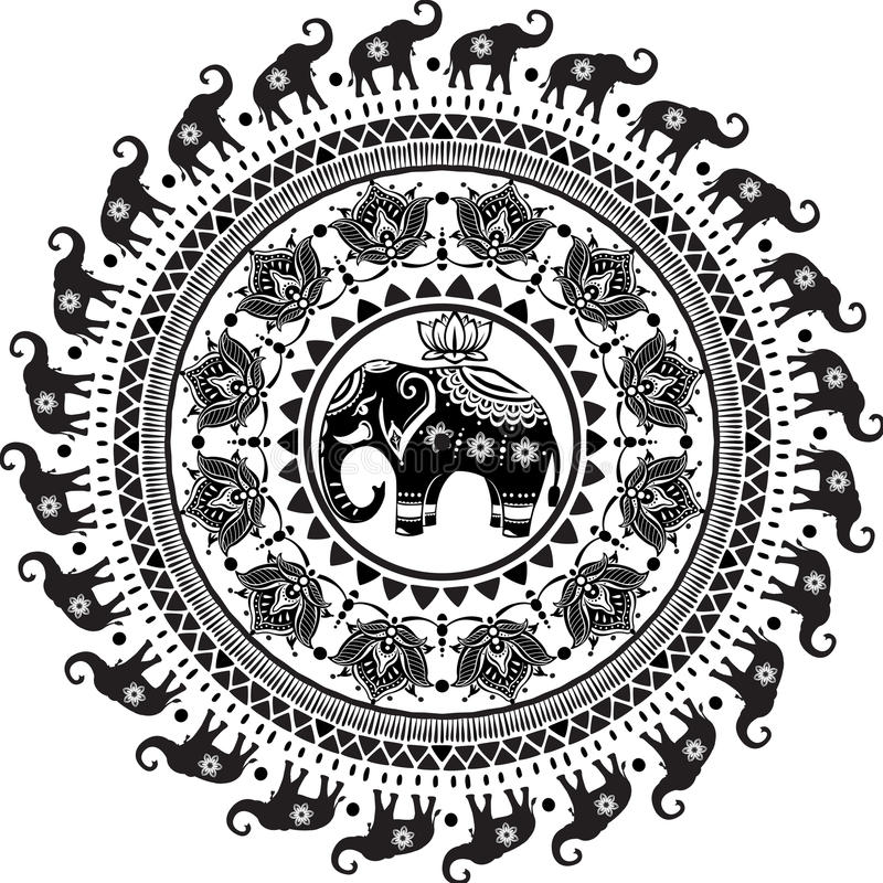 Round pattern with decorated elephants. And lotus flower stock illustration