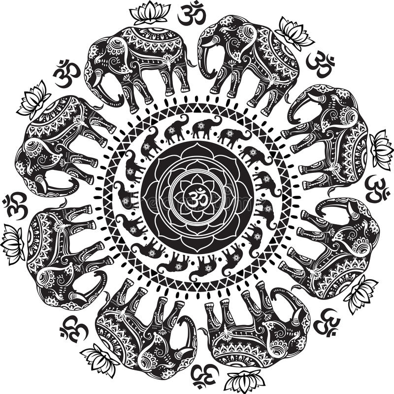 Round pattern with decorated elephants. And lotus flower vector illustration