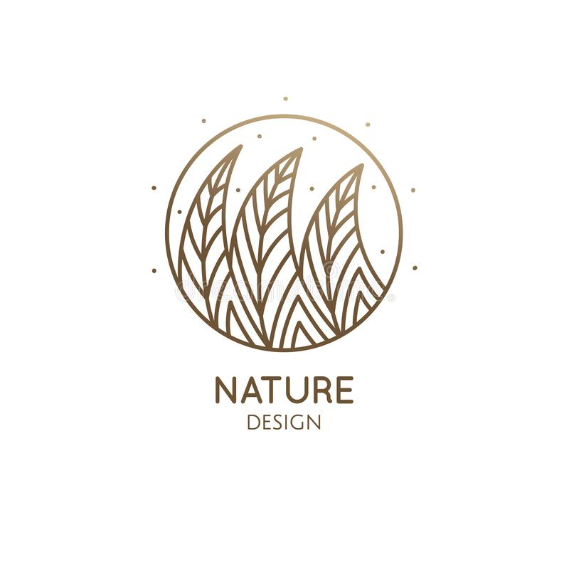Round pattern logo of forest. Abstract pattern trees logo. Vector emblem wavy structure of plants. Ornamental minimal badge for design of natural products stock illustration