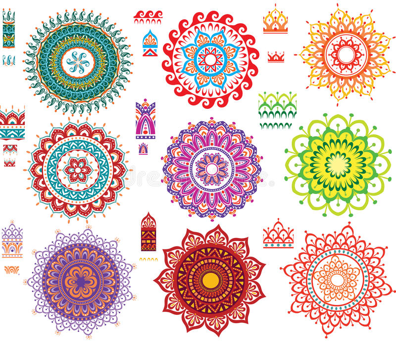 Round Pattern with Pattern brash. Round Ornament Pattern with Pattern brash stock illustration