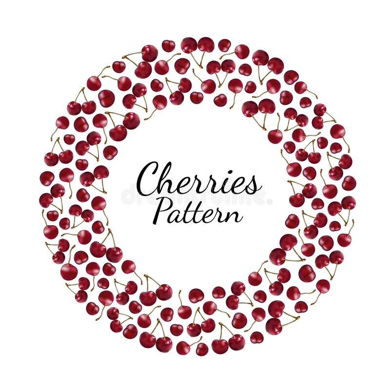 Round pattern of red cherries with sprigs on a white background stock illustration