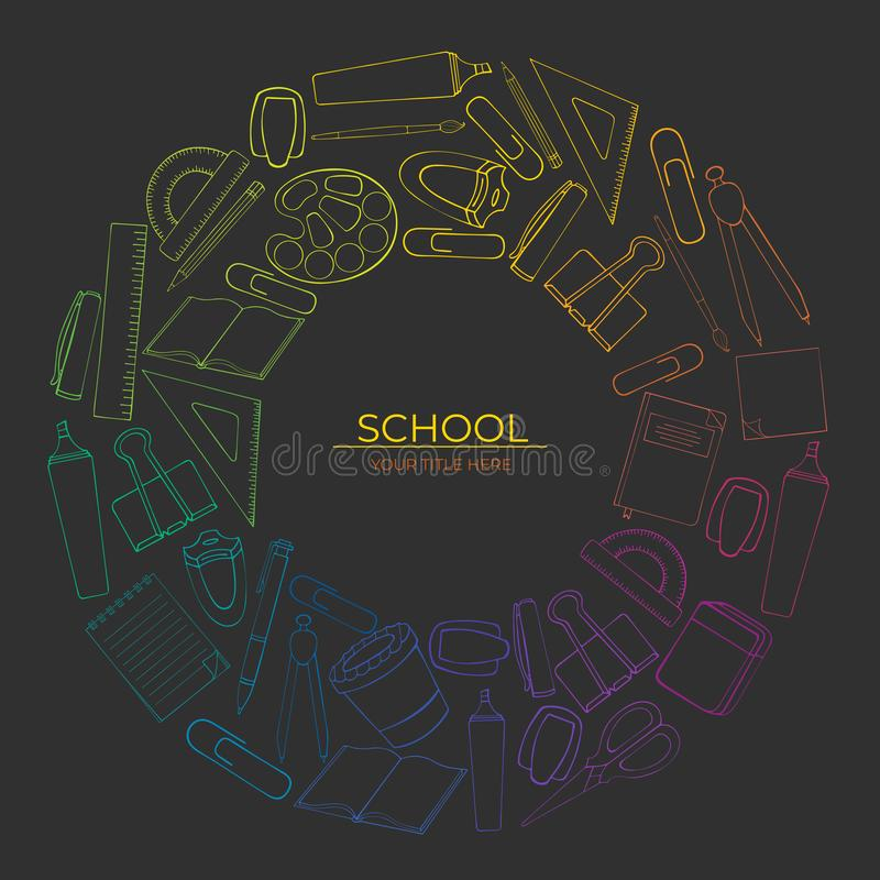 Round pattern of school supplies outline on dark background vector illustration