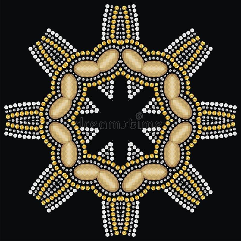 Round piękna biżuteria, medalion, broszka, dekoracja na szyi, mandala, aplikacyjni rhinestones ilustracji