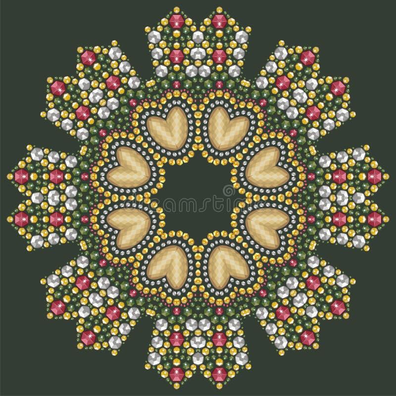 Round piękna biżuteria, medalion, broszka, dekoracja na szyi, mandala, aplikacyjni rhinestones royalty ilustracja