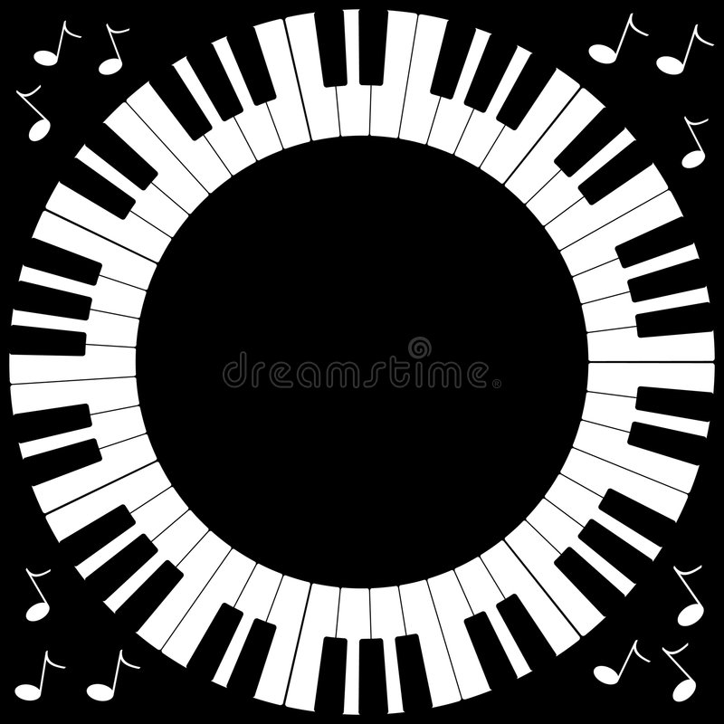 Round Piano Keyboard Frame stock illustration