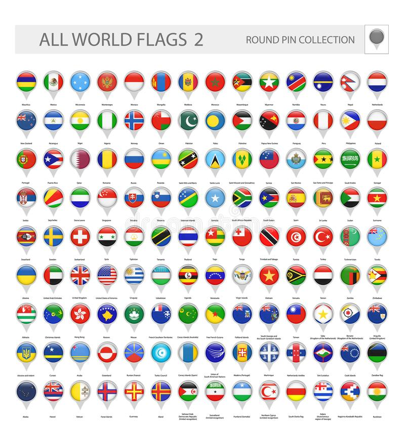Round Pin Icons of All World Flags. Part 2 stock illustration