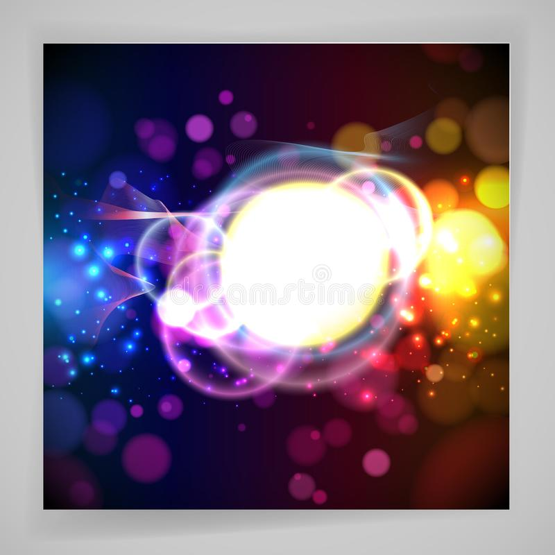 Round place for your text and abstracts dynamic elements on a dark background. Vector illustration vector illustration