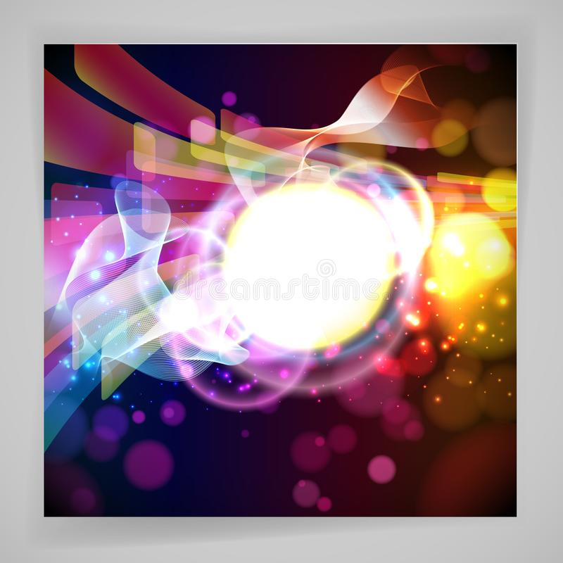 Round place for your text and abstracts dynamic elements on a dark background. Vector. Illustration stock illustration