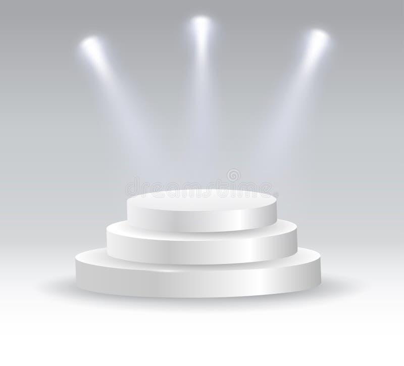 Round podium iluminujący światłami reflektorów royalty ilustracja
