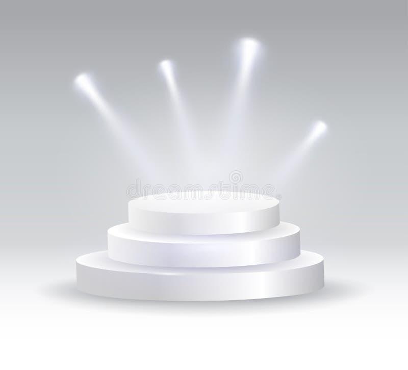 Round podium iluminujący światłami reflektorów ilustracji