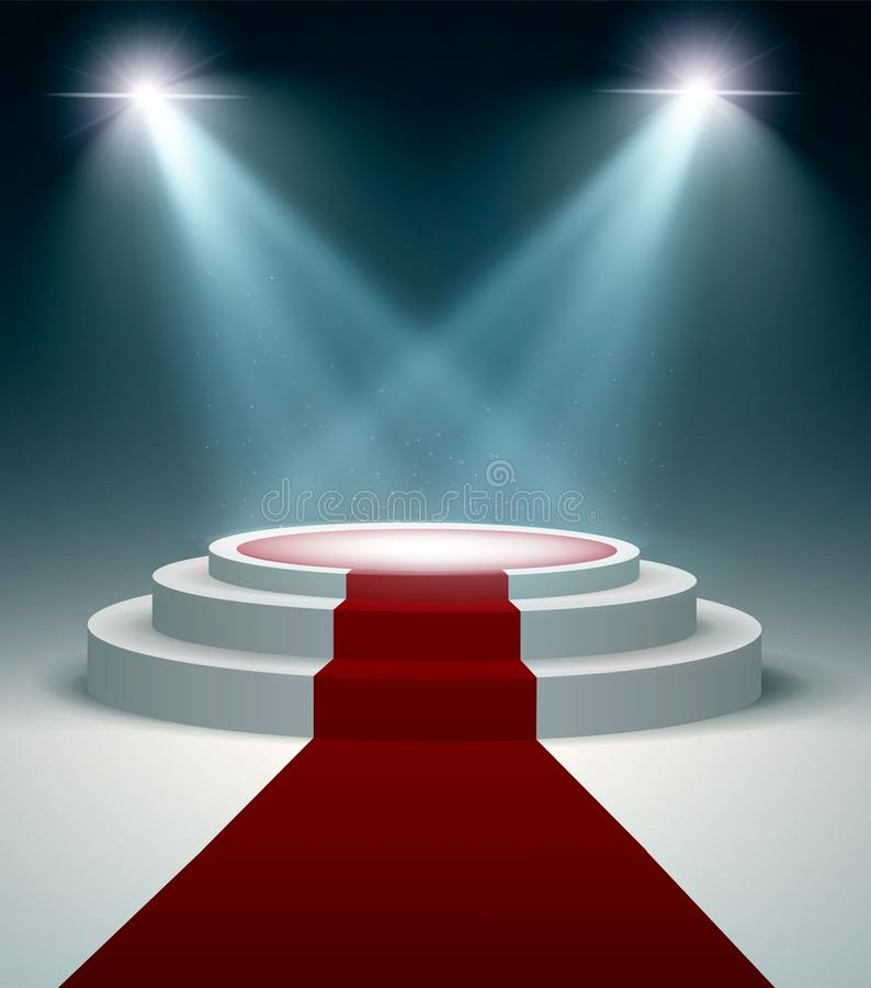 Round podium with red carpet and light effect, vector design illustration. Round podium with red carpet and light effect, vector design royalty free illustration