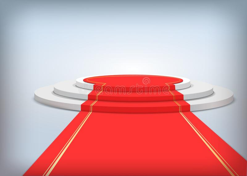 Round podium with red carpet. Realistic vector illustration. Stage for awards ceremony. Pedestal. Vector illustration vector illustration