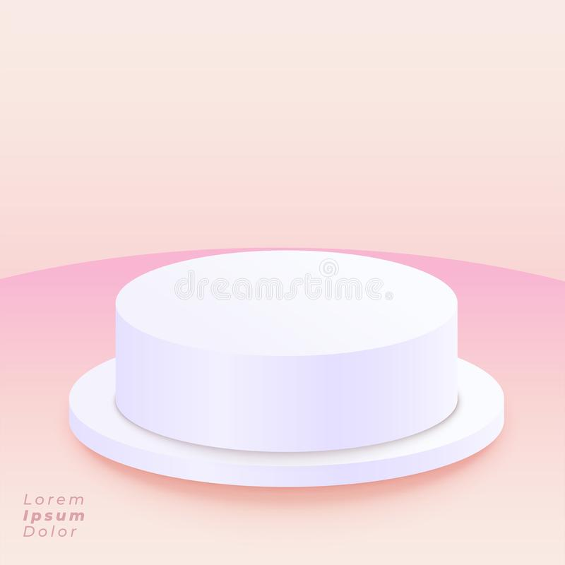 Round podium on soft pink background stock illustration