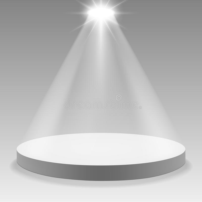 Round podium in spotlight on white background. Vector illustration. royalty free illustration