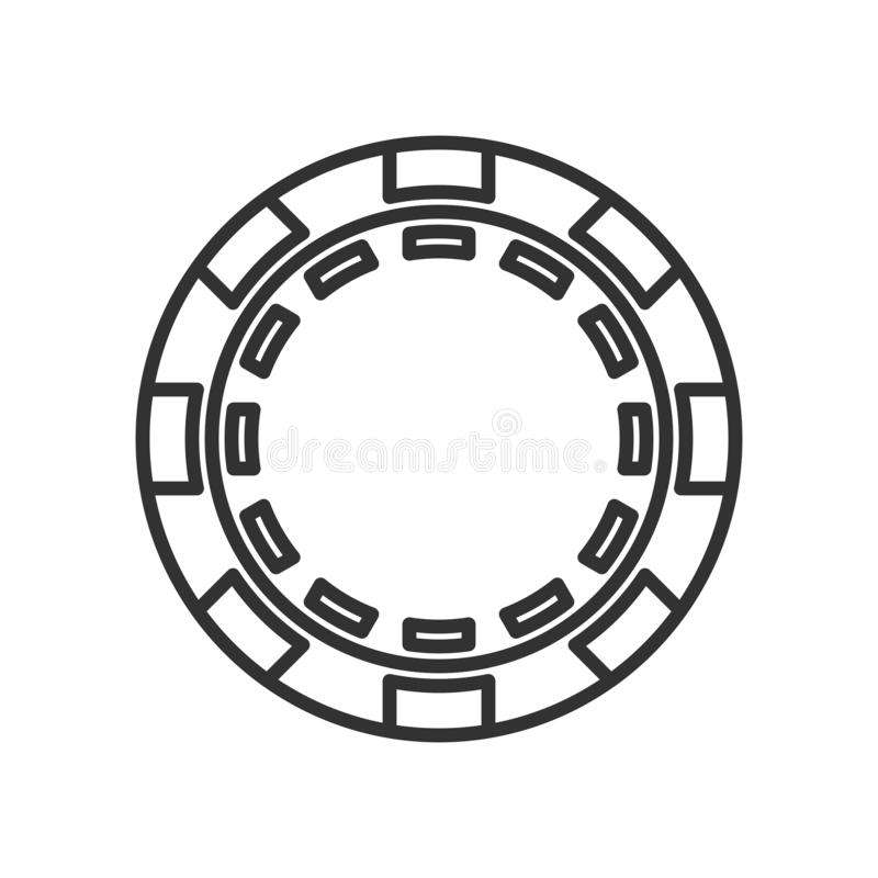 Round Poker Chip Outline Flat Icon on White. Round poker chip outline flat icon, isolated on white background. Eps file available stock illustration