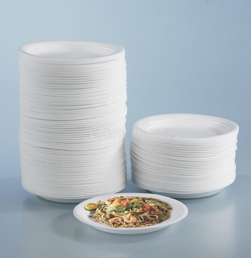 Round polystyrene plates stock images