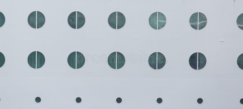Round Portholes on White Hull stock image