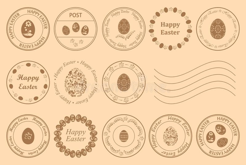 Round postage stamps with decorative eggs for easter holiday - vector design elements royalty free illustration