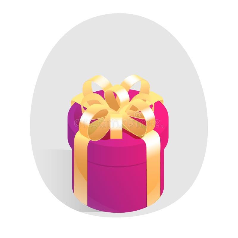 Round prezenta pudełko z złotym łękiem Isometric wektorowa ikona ilustracji