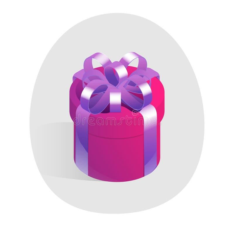 Round prezenta pudełko z złotym łękiem Isometric wektorowa ikona ilustracja wektor