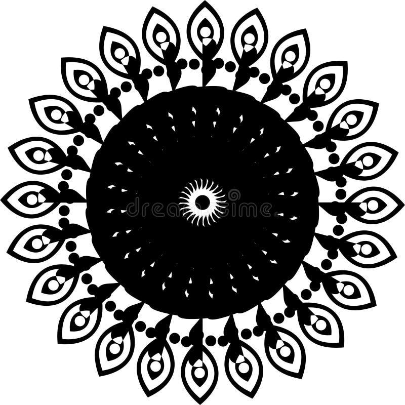 Round projekta indyjska kultura, czarny i biały, round projekta złącze opuszcza royalty ilustracja