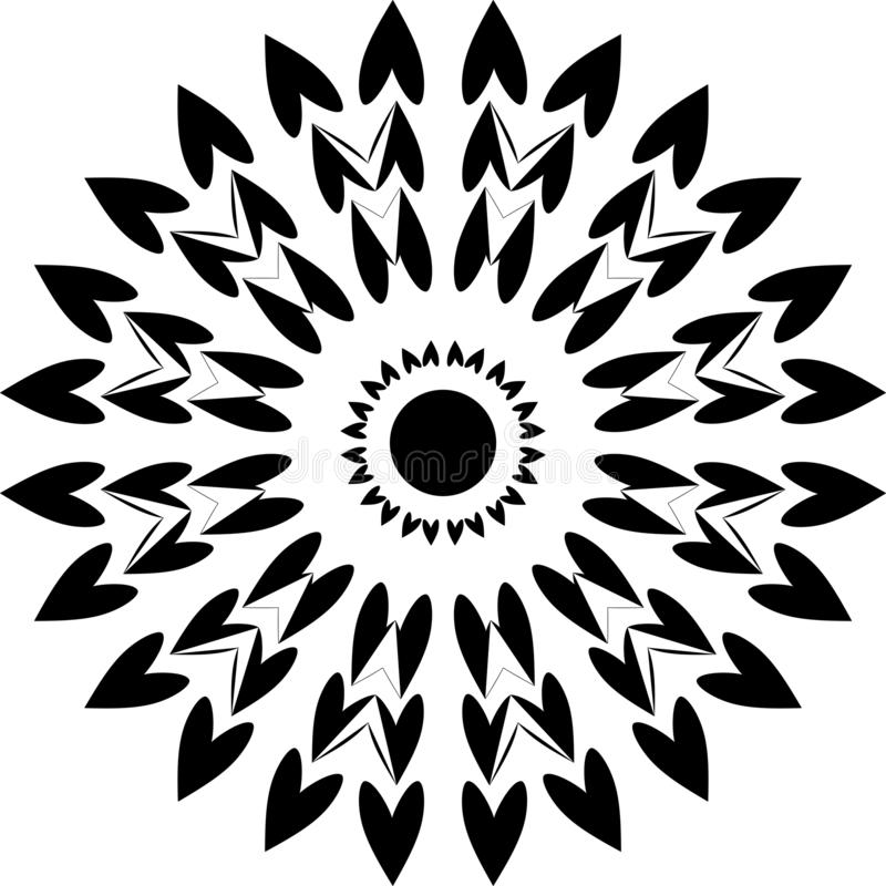 Round projekta serca, czarny i biały, round projekta złącza serca ilustracja wektor