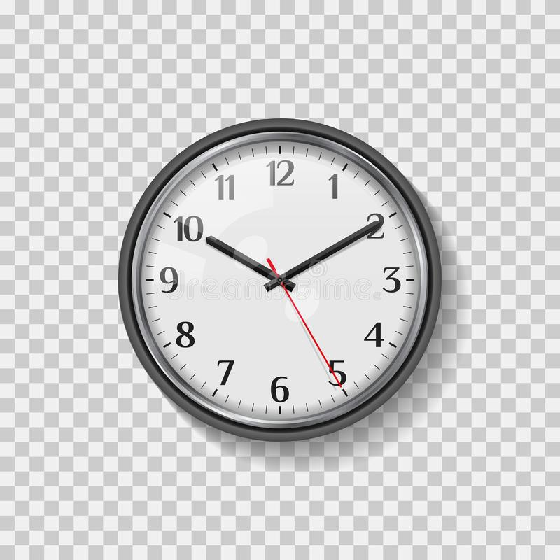 Round Quartz Analog Wall Clock. Minimalistic Modern Office Clock. Clock Face with Arabic numerals. Realistic Vector Art royalty free illustration