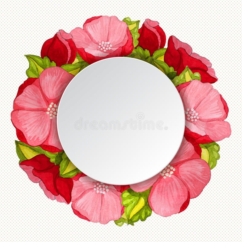 Round różowa peonia kwitnie rocznik ramę ilustracja wektor