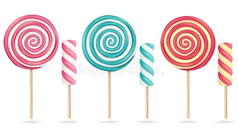 Round Różowego lizaka Ustalony wektor Kremowy Marshmallow Na kiju Słodkiej Realistycznej cukierek spirali Odosobniona ilustracja royalty ilustracja