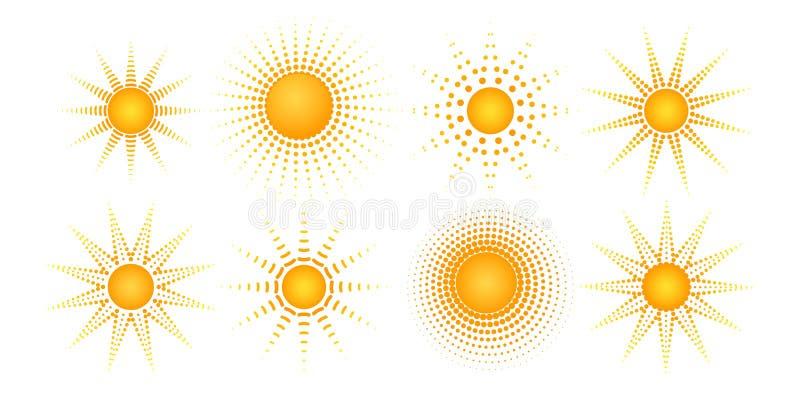 Round radial halftone dot of the sun shape Sunny pattern of orange dots spots rays on a white background Set Logo design element vector illustration