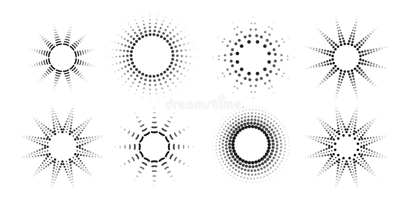 Round radial halftone dots Graphic circle pattern of black dots spots rays on a white background Set Logo design element halftone royalty free illustration