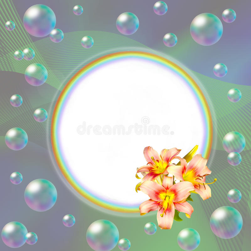 Round rainbow frame decorated with pink lilies and bubbles vector illustration