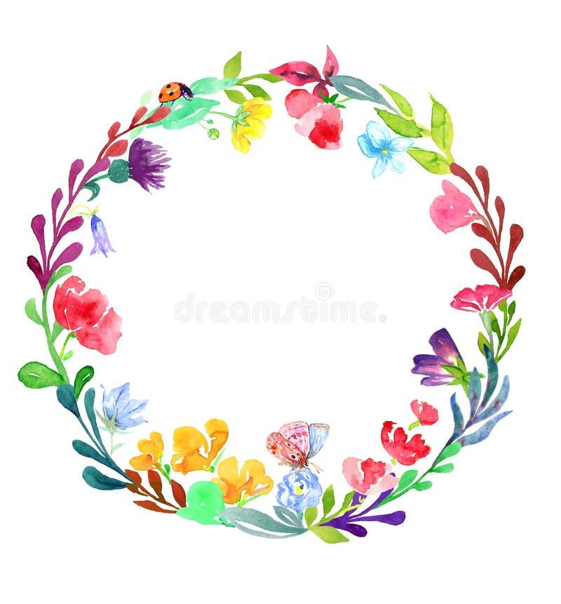 Round rama dzicy kwiaty i liście z motylem i biedronką royalty ilustracja
