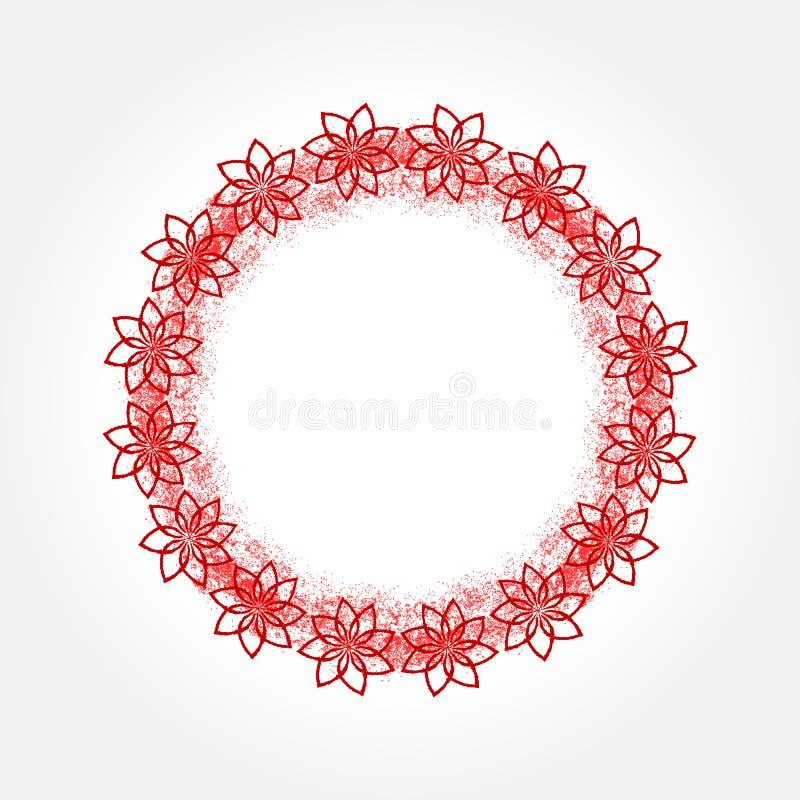 Round rama malująca rozpylać Kwiatu kontur grunge ilustracji
