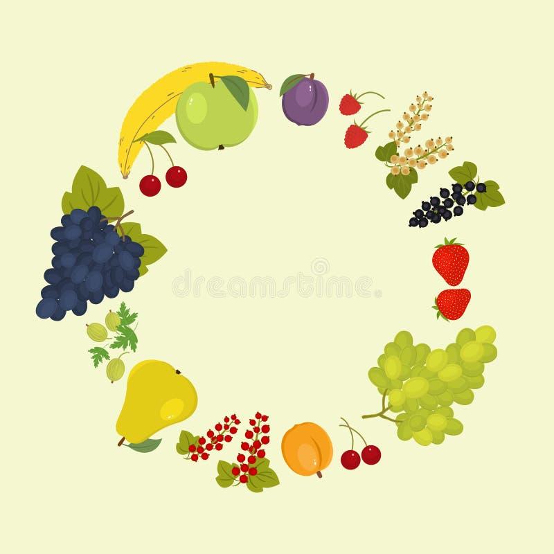 Round rama owoc i jagody ilustracji