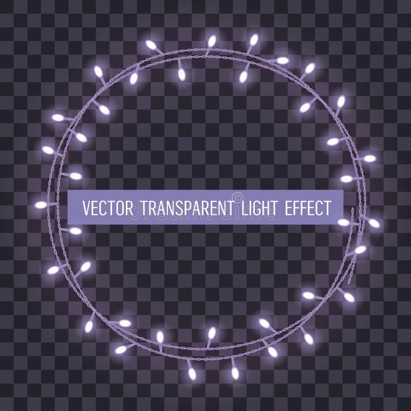 Round rama pokrywać się, rozjarzony sznurek zaświeca na przejrzystym tle również zwrócić corel ilustracji wektora ilustracja wektor