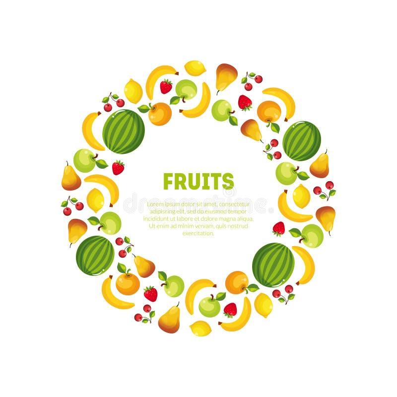 Round rama Różna Świeżych warzyw i owoc wektoru ilustracja ilustracja wektor
