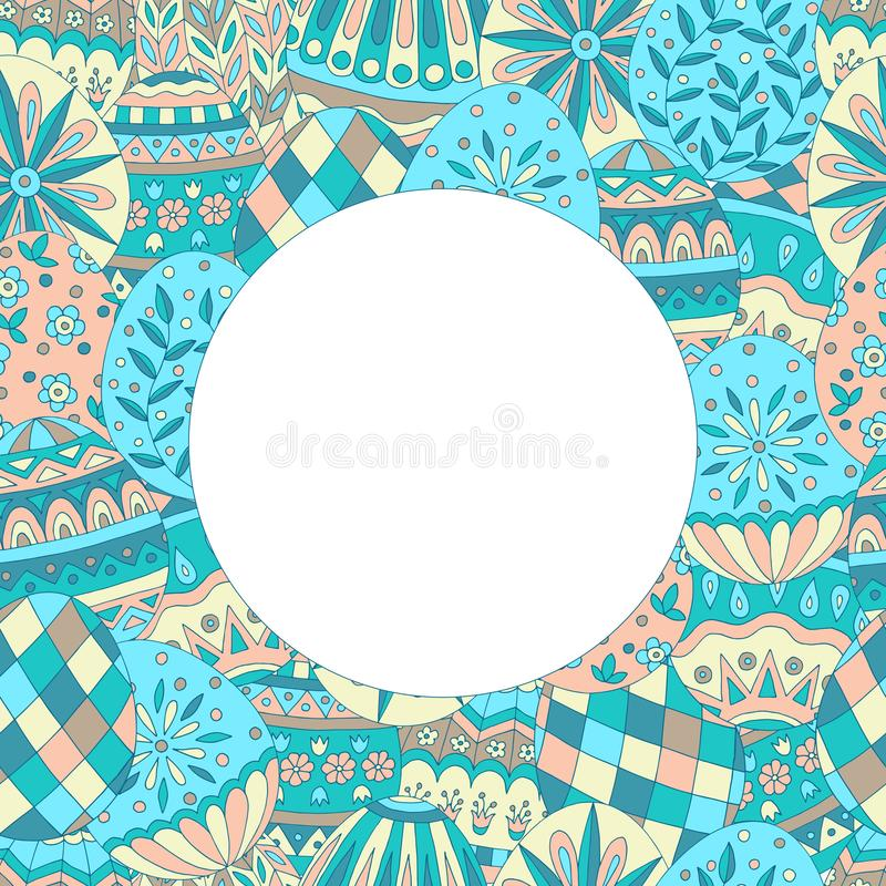 Round rama z abstrakcjonistycznym Easter jajka wzorem ilustracji
