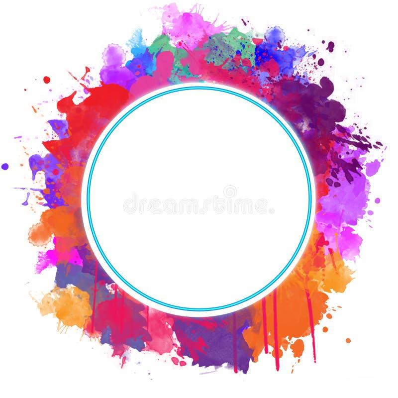 Round rama z Abstrakcjonistycznymi farb pluśnięciami royalty ilustracja