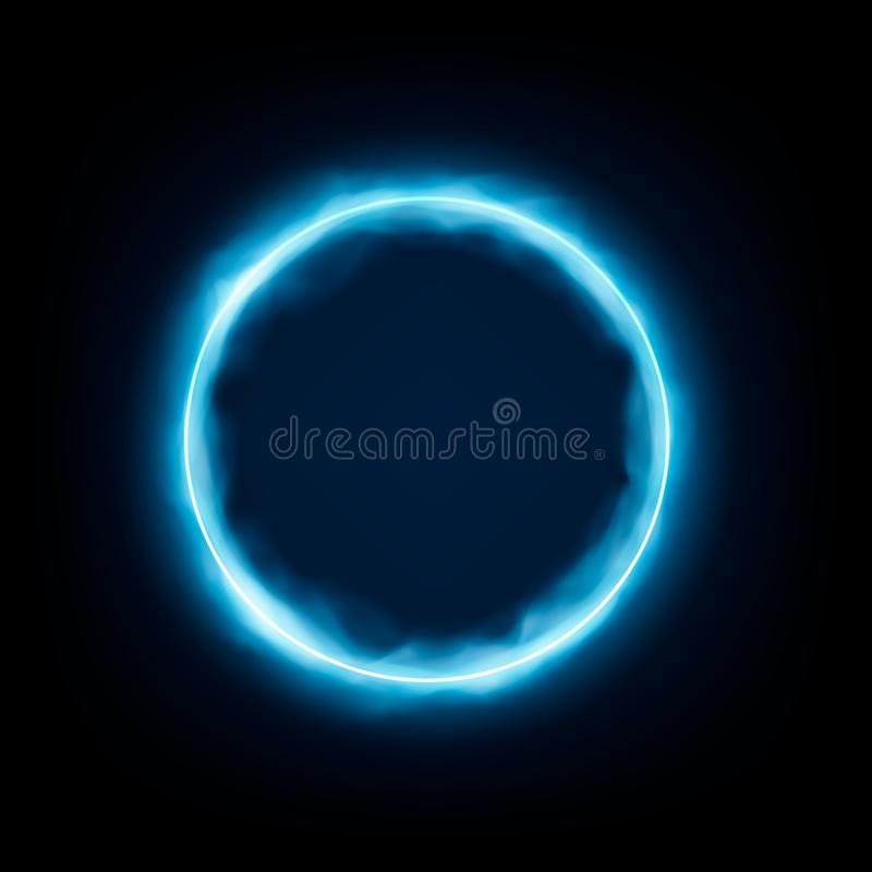 Round rama z jarzy? si? i ?wiat?em Neonowa round rama z dymnym sztandaru projektem na zmroku - błękitny tło r?wnie? zwr?ci? corel royalty ilustracja