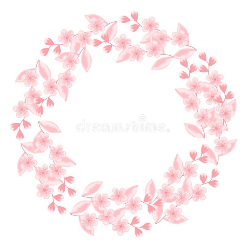 Round rama z kwiatonośnej wiśni gałąź Biel, menchia 8 karciany eps kartoteki powitanie zawierać szablon Projekt grafika dla ślubn ilustracja wektor