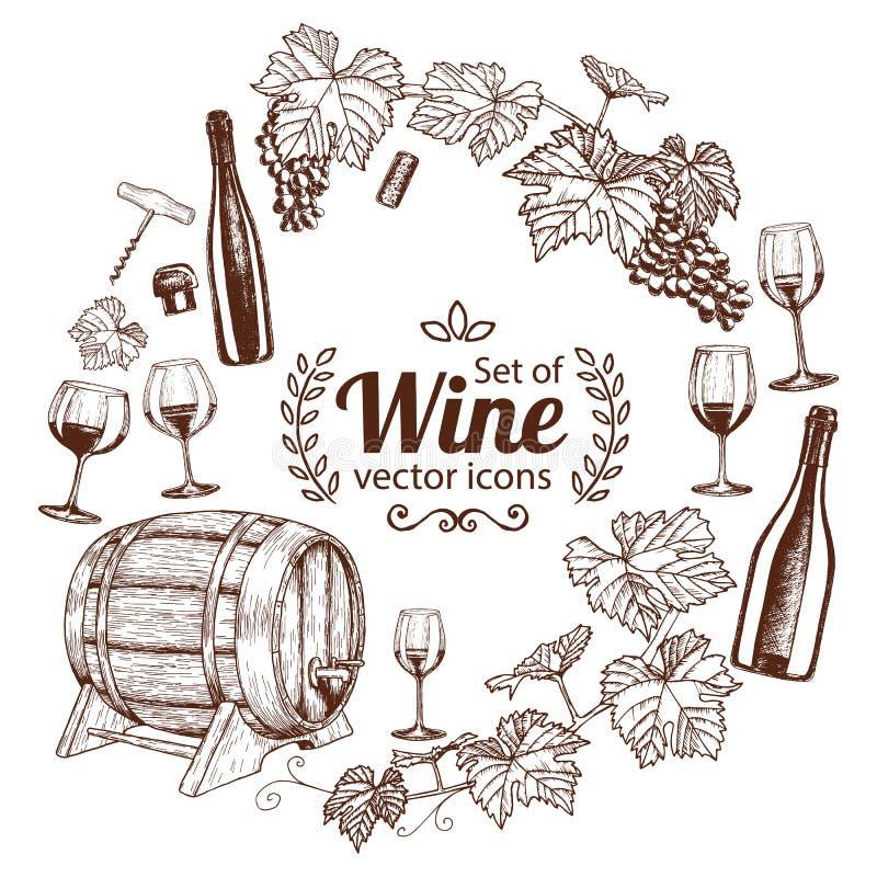 Round rama z nakreślenia wina ikonami royalty ilustracja