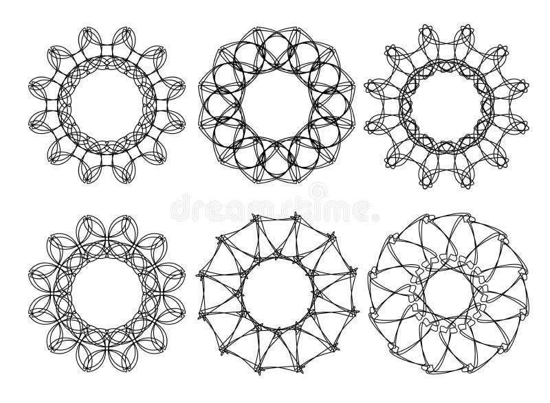 Round rama z ozdobnym granicy Gometrical ornamentem royalty ilustracja