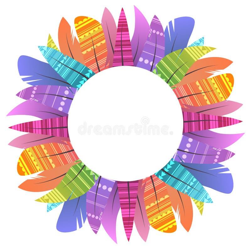 Round rama z stubarwnymi boho piórkami ptaki z dekoracją i miejscem dla teksta oddzielał na białym tle royalty ilustracja