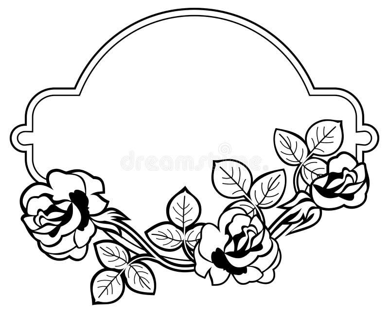 Round rama z stylizowanymi róż sylwetkami Raster klamerki sztuka ilustracji