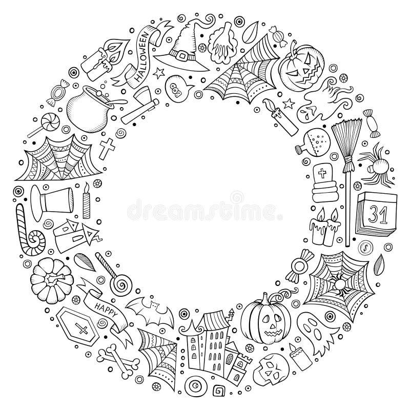 Round ramowi Halloweenowi kreskówki przedmioty, symbole i rzeczy, ilustracji